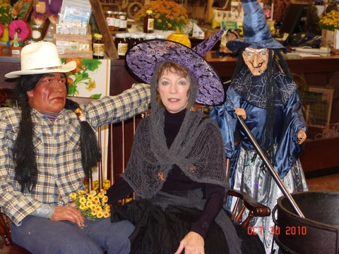 Set up inside store for Halloween plus Friendly Witch Sandra
